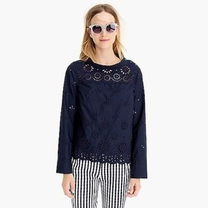 Jcrew long sleeve high low eyelet navy too
